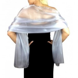 Scarf - Silver/Grey Silky Iridescent Wrap Stole Shawl For...