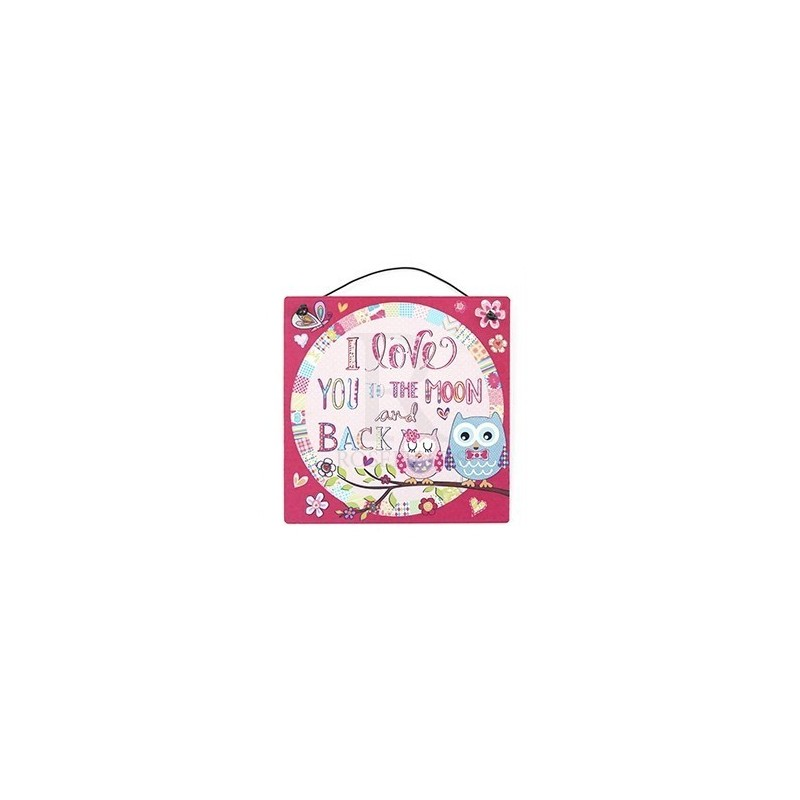 Metal Sign - cutie owl love you to the moon & back - 10cm square metal sign