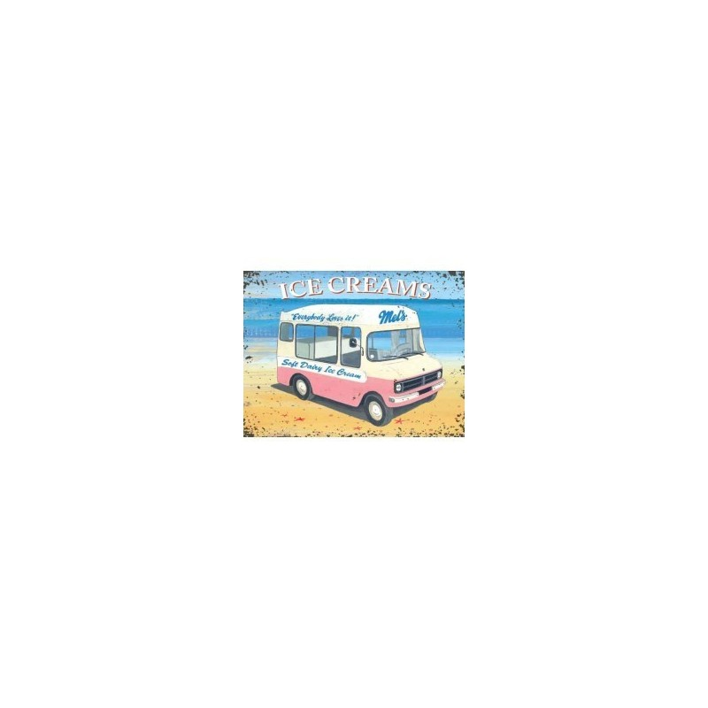 Mel's Ice Cream Van 10257 metal wall sign 15x20cm