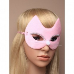 Pink fabric cat face mask with Whiskers, fluffy nose and...