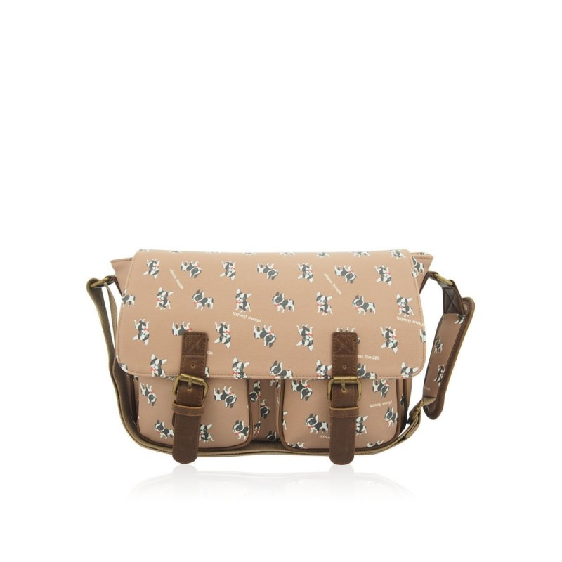 Anna Smith Cute Pug dog Satchel SCHOOL COLLEGE MESSENGER Shoulder Girls Handbag