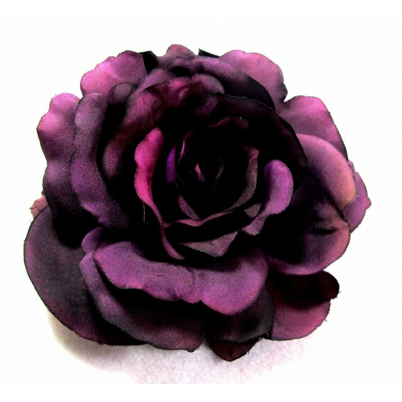 Dark Plum Purple Hair Flower on Hair Clip Large Statement Peony Flower Corsage