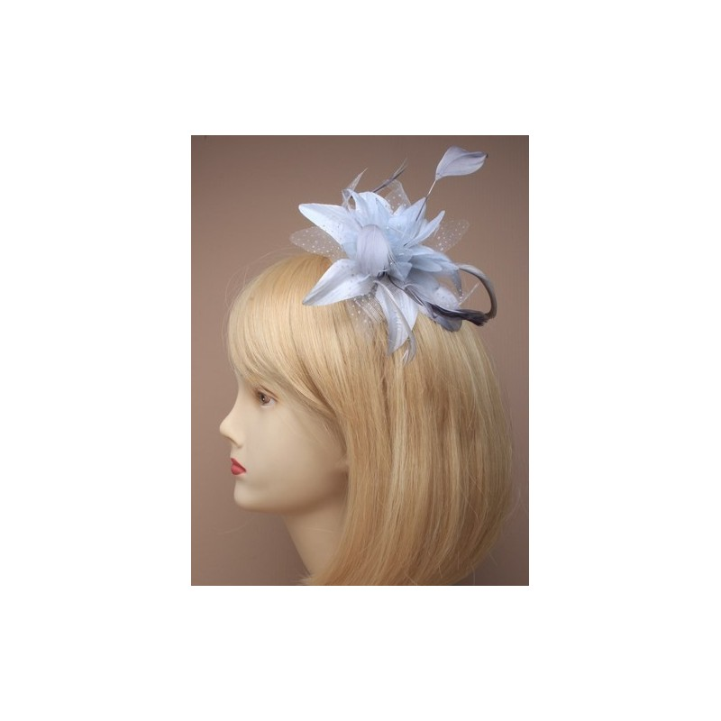 Fascinator Comb - Lily-esque silver grey Feather Flower Fascinator on a clear comb