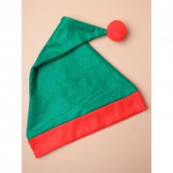 Christmas Elf Hat in dark green with red trim and bobble