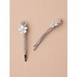 Hair Grip Slides - Pair crystal flower silv 6cm kirby hair grip slides