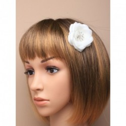 Hair Comb Flower - Layered white fabric flower with...