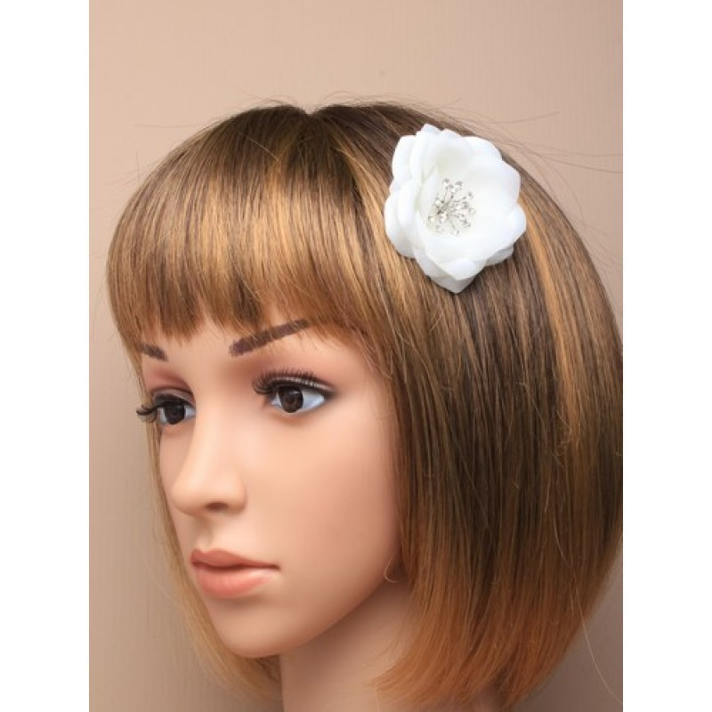 Hair Comb Flower - Layered white fabric flower with centre crystals on a mini comb.