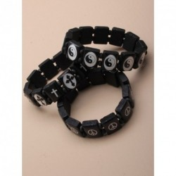 Bracelet - Black wooden tablet bead stretch bracelet - choice of cross, peace or ying yang design.