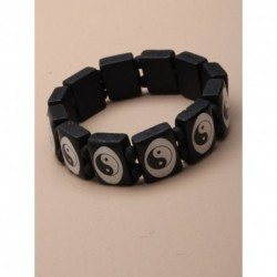 Bracelet - Black wooden tablet bead stretch bracelet -...