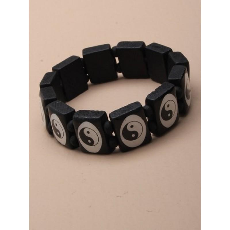 Bracelet - Black wooden tablet bead stretch bracelet - choice of cross, peace or ying yang design.