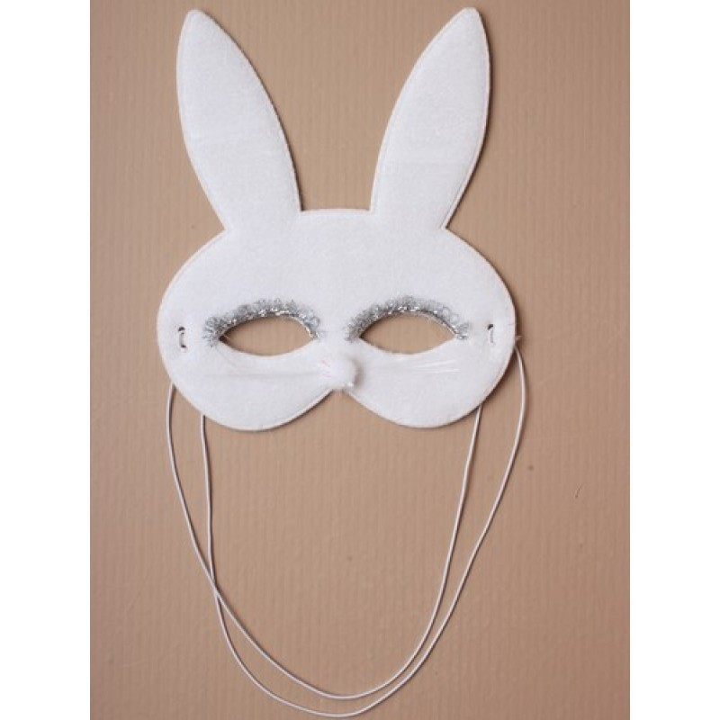 Mask - White bunny rabbit face mask with Whiskers.
