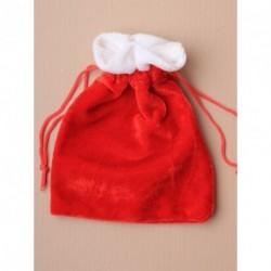 クリスマス袋 - 赤いベルベットクリスマスサンタの袋巾着ギフトバッグの約サイズ:15x11cm。