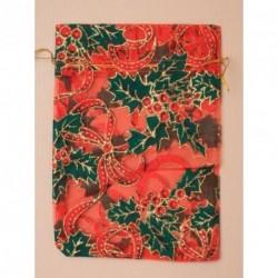 Christmas Organza Bag - red organza gift bag with holly...