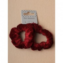 Hair Scrunchie Set - 2 Small Burgundy Velveteen fabric hair scrunchies.