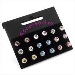 Earring Set - Nine pairs 6mm assorted colour crystal stud...