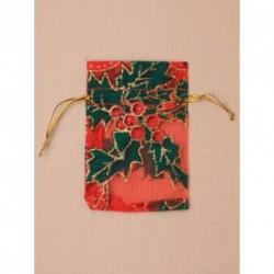 Organza Gift Bag - Christmas red organza gift bag with...
