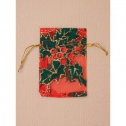 Organza Gift Bag - Christmas red organza gift bag with holly print 10x7.5cm