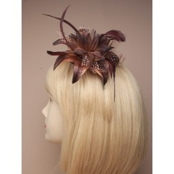 Fascinator Comb - Brown Feather Lily-esque Flower Fascinator comb