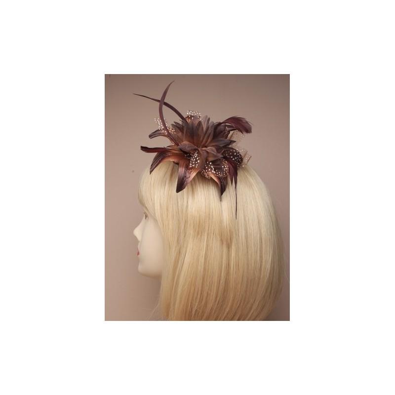 peine de diadema de flores de flor de lirio-esque fascinator peine - marrón pluma