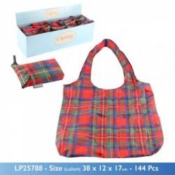 Clip on Bag - Re-usable Tartan Print Folding Pocket Bag...