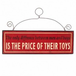 Hanging Wall Plaque - The Only Difference Between Men and Boys Is The Price of Their Toys - Wooden Wall Sign