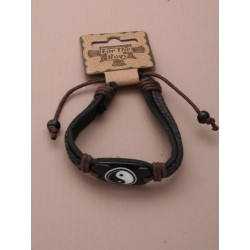 Boys / Mens leather and corded adjustable bracelet with...