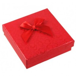 CHRISTMAS RED Mini Ribbon Bow Hearts Card Box 9x9x2.6cm...