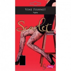Silky Scarlet Black Ladies Vine Fishnet Lace Hold Ups One Size