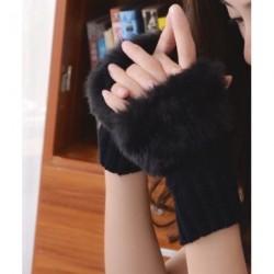 Soft Faux Fur Trim Hand Wrist Winter Warmer Knitted Fingerless Gloves