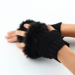 Soft Faux Fur Trim Hand Wrist Winter Warmer Knitted...