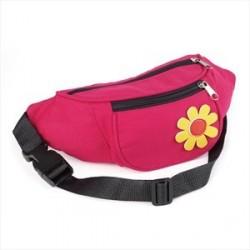 Fuchsia pink bum bag with flower design motif.