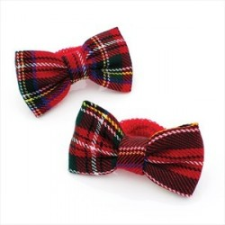 One pair tartan print hair ponio set.