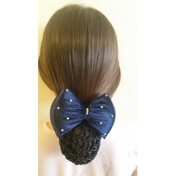 Navy Blue Bow Black Velvet Ribbon Crochet Bun Net Snood Diamante on Hair Clip