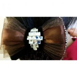 Brown Bow Black Velvet Ribbon Crochet Bun Net Holder Snood Diamante Clear Stone