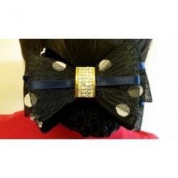 Navy Black Net Spotty Bow Ribbon Crochet Bun Net Holder Snood Diamante Hair Clip
