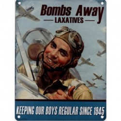 BOMBS AWAY Metal Advertising Sign (SMALL (200mm X 150mm))