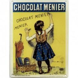 CHOCOLATE MENIER Metal Enamel Advertising Wall Sign...