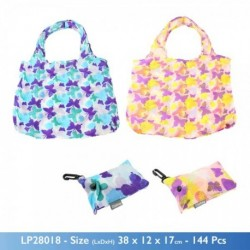 Clip on Bag - Re-usable Butterfly Print Folding Pocket Bag with clip on key ring