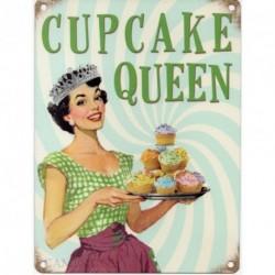 Cupcake Queen Metal Sign Nostalgic Vintage Retro Advertising Enamel Wall Plaque 200mm x 150mm