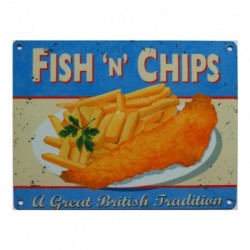 FISH AND CHIPS Metal Advertising Sign (LARGE 150mm X 200mm)