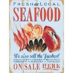 SEAFOOD Metal Enamel Advertising Wall Sign 200mm x 150mm