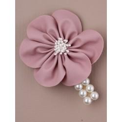7 cm Pearl sponkou s imitací koženky květin. v růžové / broskev ...