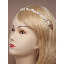 Vintage plated finish crystal flower tiara band.
