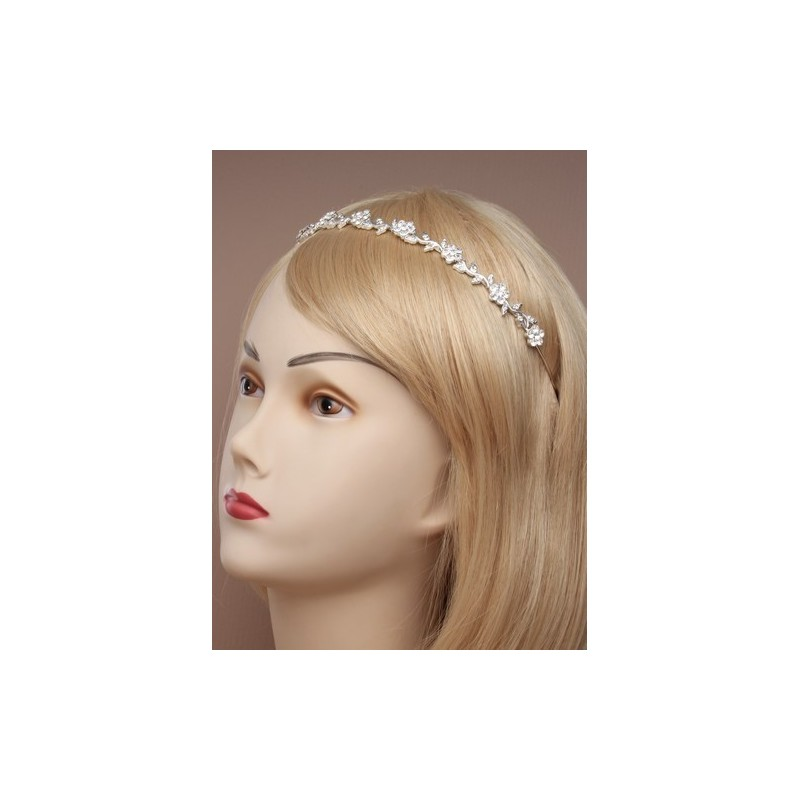 vintage folheado acabamento pérola pérola e cristal flor banda tiara.