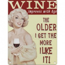WINE IMPROVES WITH AGE Metal Advertising Sign (SMALL (200mm X 150mm))