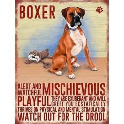 Boxer Dog Metal Sign Plaque - Alert & Watchful...