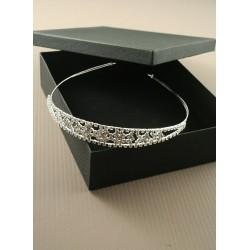 Tiara - Silv crystal cluster Tiara in black gift box with...