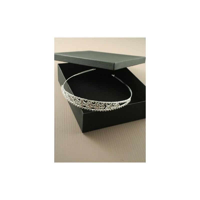Tiara - Silv crystal cluster Tiara in black gift box with velvet pad