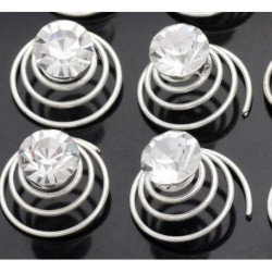 4 Clear Crystal Swirl Hair Twists Coils Spirals Hair Ornaments Accessories Clip