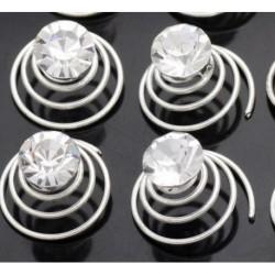 4 Clear Crystal Swirl Hair Twists Coils Spirals Hair Ornaments Accessories Clip